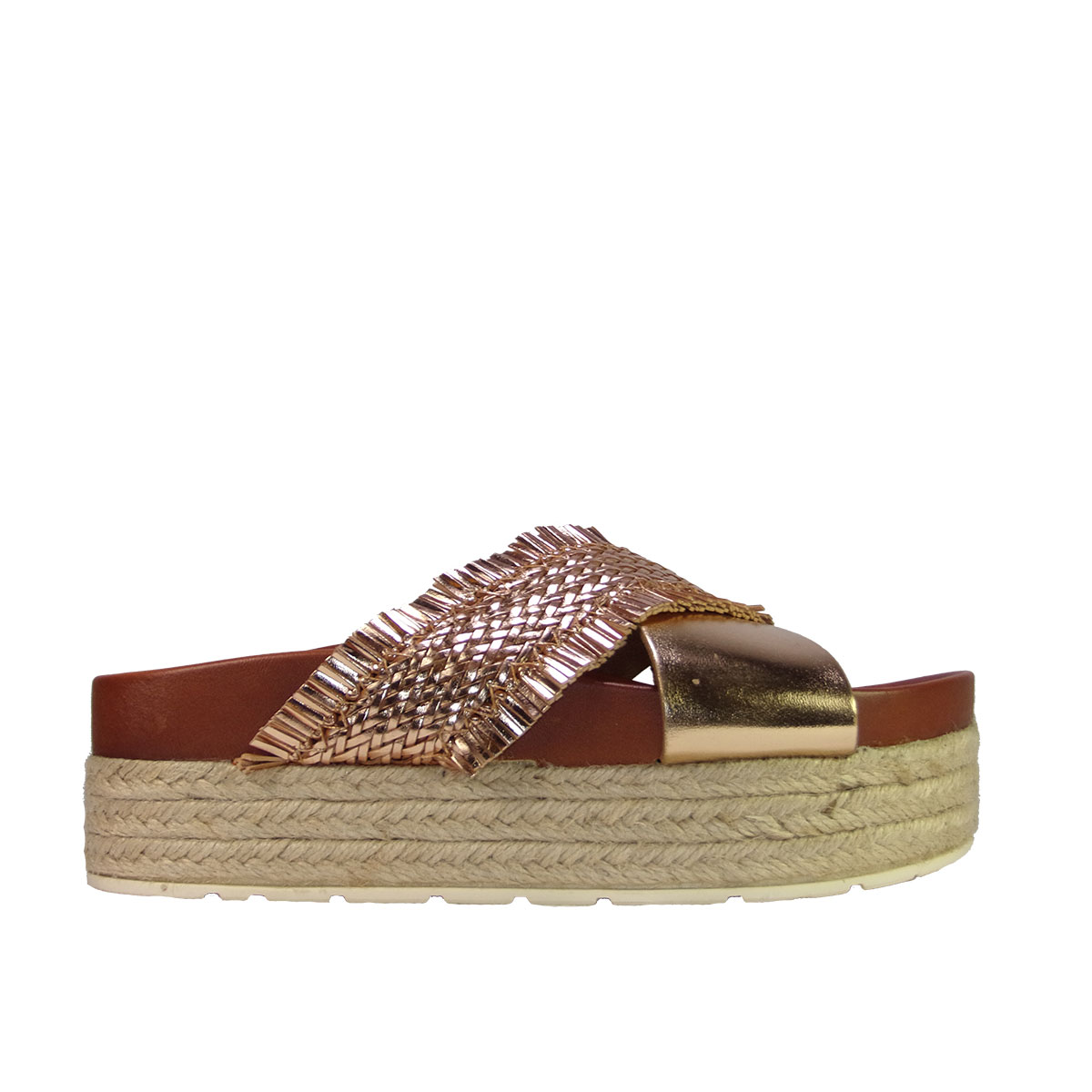 eee99d9bd07 Malika shoes 17060 Γυναικείες Παντόφλες Flatforms Ροζ Χρυσό