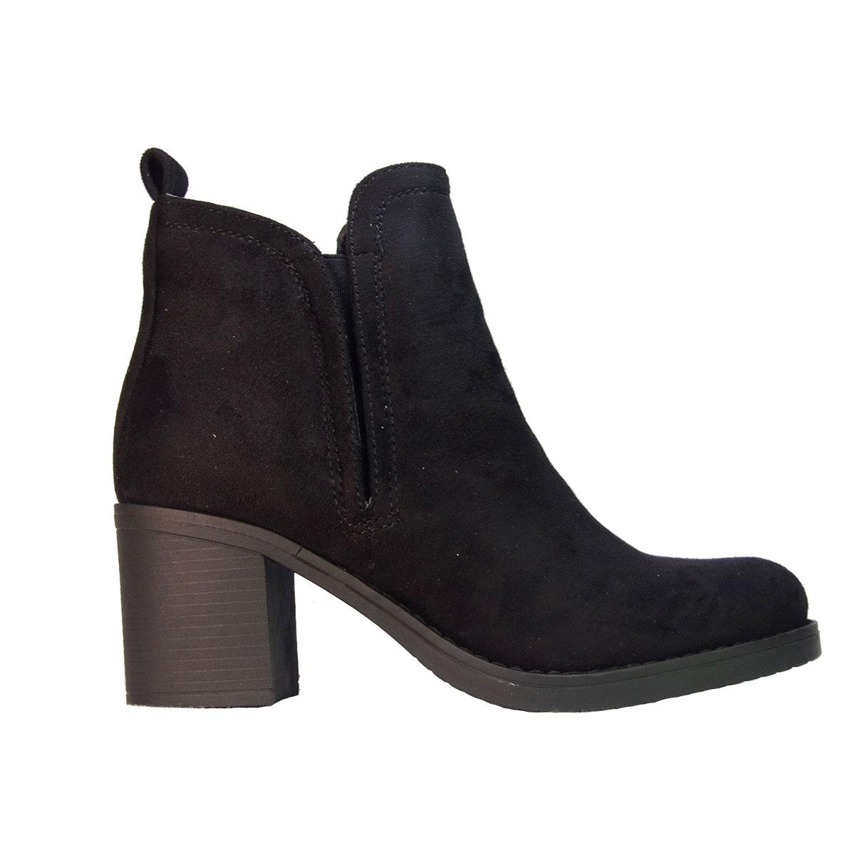 ILoveMyShoes 8903 Γυναικεία Μποτάκια Χοντρό Τακούνι Suede Μαύρο ... e6e6ddf5bba