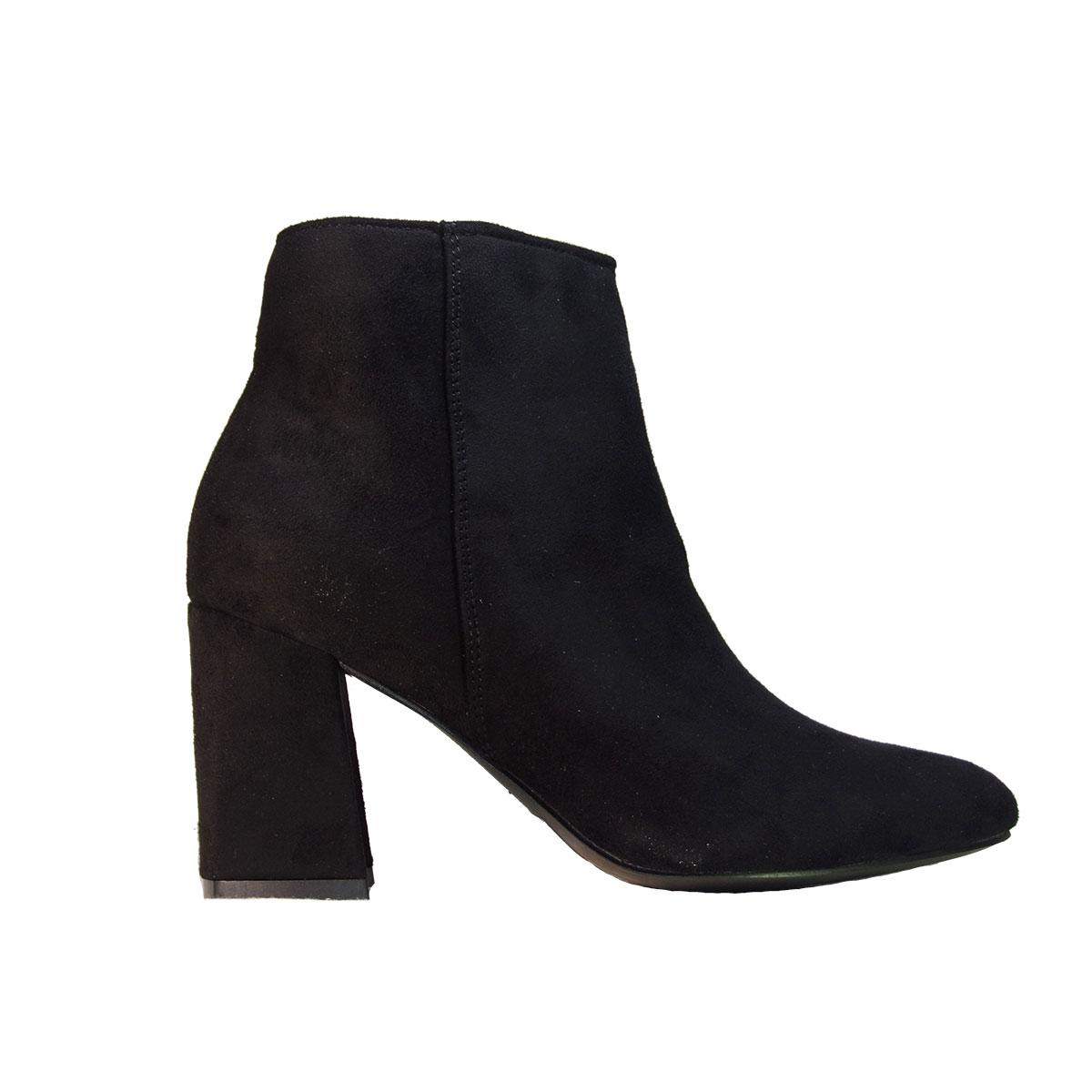436dc8a4cad ILoveMyShoes 3190 Γυναικεία Μποτάκια Χοντρό Τακούνι Suede Μαύρο ...