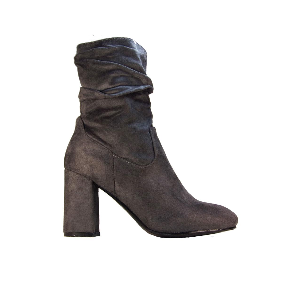 c571a1c1de1 ILoveMyShoes S-302 Γυναικεία Μποτάκια Χοντρό Τακούνι Suede Γκρι